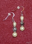 Pearl and Glass Czech bead drop earrings